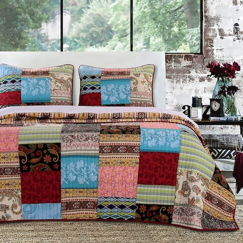 Greenland Home Fashions Bohemian Dream Reversible 3-piece Quilt Set