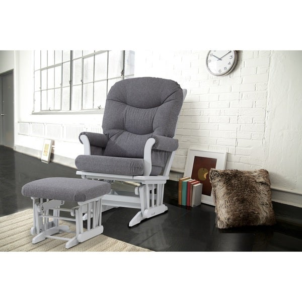 Cool Dutailier Sleigh Glider And Ottoman Chenille Light Grey Gmtry Best Dining Table And Chair Ideas Images Gmtryco