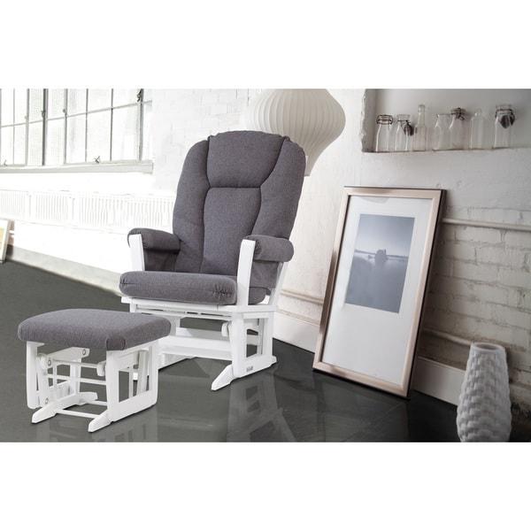 Dutailier Grey And White Glider Rocking Chair With Glider Ottoman