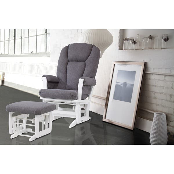 Surprising Dutailier Grey And White Glider Rocking Chair With Glider Ottoman Gmtry Best Dining Table And Chair Ideas Images Gmtryco