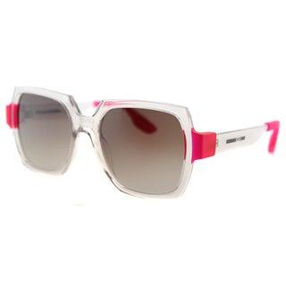 McQ MQ 0013S 002 Transparent Rose Plastic Square Brown Gradient Lens Sunglasses