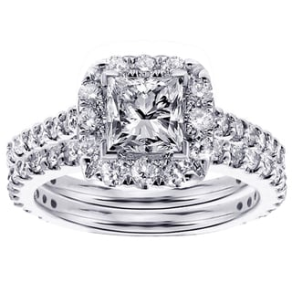 Platinum 2ct TDW Diamond Bridal Ring Set