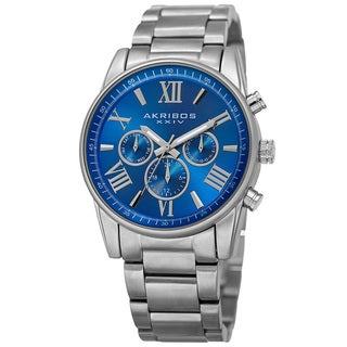 Akribos XXIV Women's Swiss Quartz Multifunction Blue Silver-tone Stainless Steel Bracelet Watch