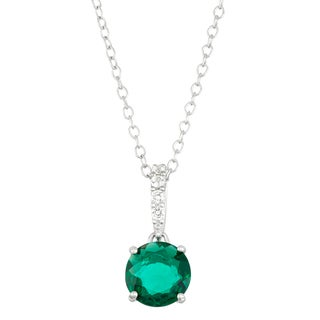 Gioelli Sterling Silver Created Emerald with Created White Sapphire Accent Pendant