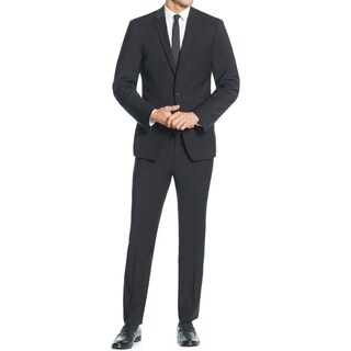DKNY Men's Two-Piece Black Wool Slim-Fit Suit