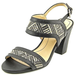 Life Stride Women's 'Luna' Faux Black Leather Sandals