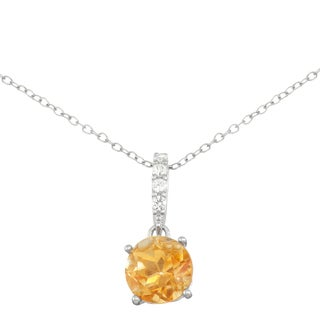 Gioelli Sterling Silver Citrine with Created White Sapphire Accent Pendant