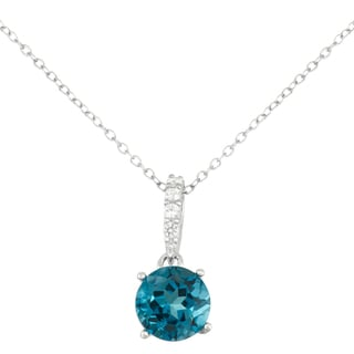 Gioelli Sterling Silver London Blue Topaz with Created White Sapphire Accent Pendant