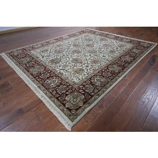 Hand-knotted Oriental Rajasthan White Wool Rug (8'2 x 10'2)