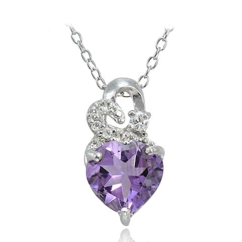 Glitzy Rocks Sterling Silver Gemstone and White Topaz Heart Necklace