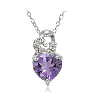 Glitzy Rocks Sterling Silver Gemstone and White Topaz Heart Necklace