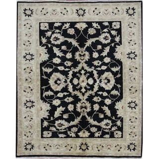 Hand-knotted Traditional Oushak Style Black Wool Rug (5'1 x 6'2)