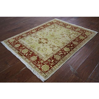 Hand-knotted Peshawar Collection Ivory Wool Rug (3' x 3'9)