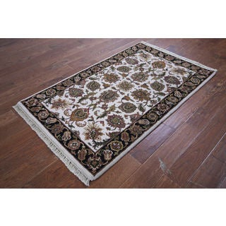 Hand-knotted Oriental Rajasthan White and Black Wool Rug (3'2 x 5'3)
