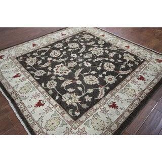 Hand-knotted Chobi Black Wool Rug (6'7 x 6'9)
