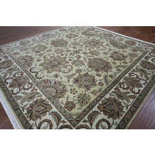 Hand-knotted Rajasthan Ivory Wool Rug (8'10 x 8'10)