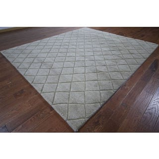 Hand-knotted Moroccan Beige Wool Rug (8'6 x 9'10)