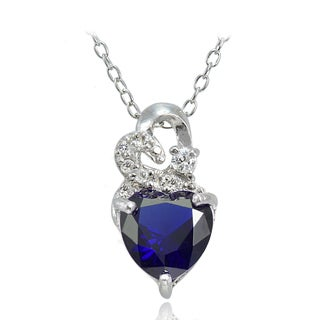 Glitzy Rocks Sterling Silver Created Gemstone and White Topaz Heart Necklace
