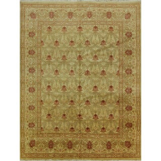 Hand-knotted Suzani Multicolor Brown Wool Rug (8'1 x 10'5)