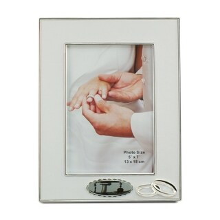 "Elegance Double Ring Silver Plated Frame 5""x7"""