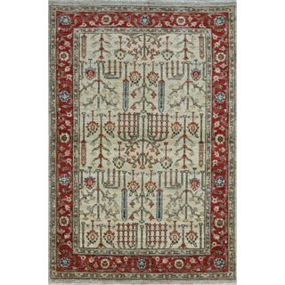 Hand-knotted Ziegler Oriental Red and White Wool Rug (4'1 x 6'1)