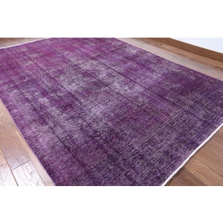 Hand-knotted Oriental Overdyed Purple Wool Rug (6'10 x 9'6)