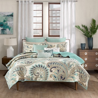 INK+IVY Mira Blue Cotton Coverlet Mini Set