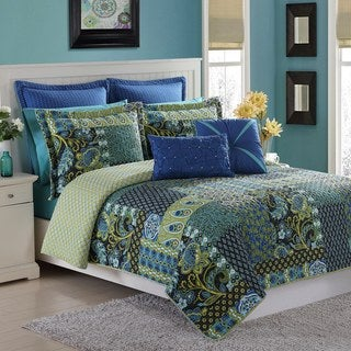 Marchia Blue Reversible 3-piece Cotton Quilt Set by Fiesta