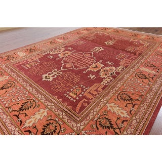 Hand-knotted Ziegler Oriental Pink Wool Rug (9'1 x 12'7)