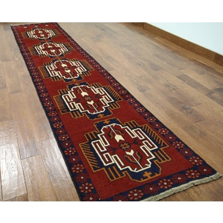 Hand-knotted Balouch Red Wool On Wool Runner (2'7 x 12'7)