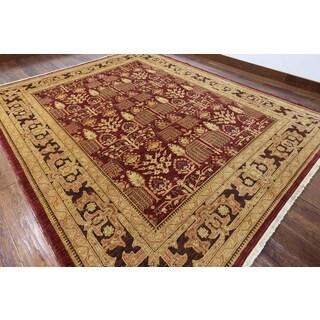 Hand-knotted Peshawar Burgundy Wool Rug (8' x 9'10)