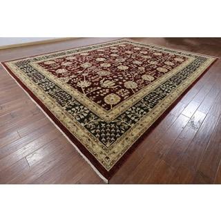 Hand-knotted Peshawar Burgundy Wool Rug (11'8 x 14'8)