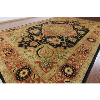 Hand-knotted Serapi Black Wool Rug (11'10 x 17'6)