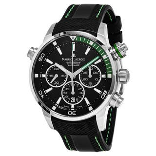 Maurice Lacroix Men's PT6018-SS001-331 'Pontos' Black Dial Black Rubber Strap Chronograph Swiss Auto|https://ak1.ostkcdn.com/images/products/11685994/P18612138.jpg?impolicy=medium