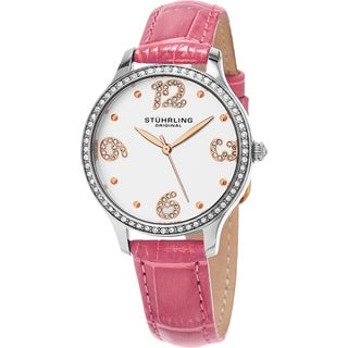 Stuhrling Original Women's Chic Quartz Crystal Pink Leather Strap Watch