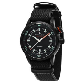 Maurice Lacroix Men's PT6248PVB013-322 'Pontos Diver' Black Dial Black Leather Strap Swiss Automatic