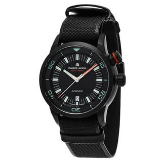 Maurice Lacroix Men's PT6248PVB013-322 'Pontos Diver' Black Dial Black Leather Strap Swiss Automatic|https://ak1.ostkcdn.com/images/products/11686004/P18612143.jpg?impolicy=medium