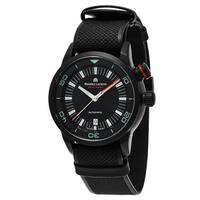Maurice Lacroix Men's  'Pontos Diver' Black Dial Black Leather Strap Swiss Automatic