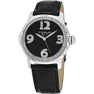 Stuhrling Original Women's Chic Quartz Swarovski Crystal Watch with Black Leather Strap