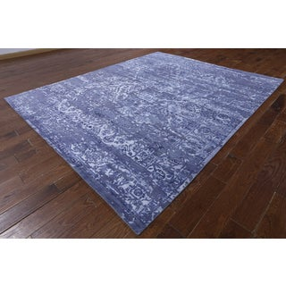 Hand-knotted Abstract Blue Wool and Silk Rug (8' x 9'10)