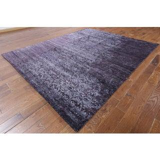 Hand-knotted Modern Purple Silk Rug (7'10 x 9'10)