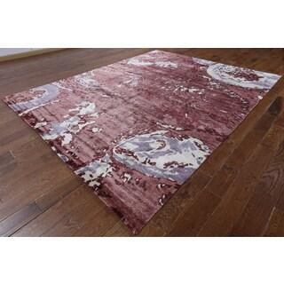 Hand-knotted Modern Burgundy Silk Rug (8'1 x 10'1)