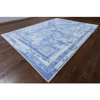 Hand-knotted Modern Blue and White Silk Rug (9'1 x 12'1)