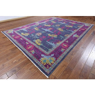 Hand-knotted Suzani Blue and Purple Wool Rug (8'10 x 11'8)