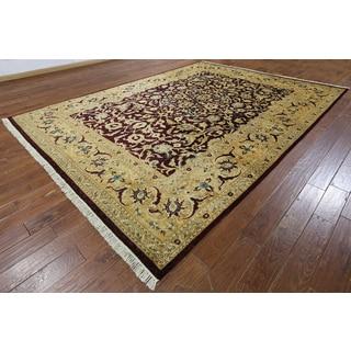 Hand-knotted Peshawar Burgundy Wool Rug (9' x 12'2)