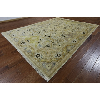 Hand-knotted Peshawar Multicolor Beige Wool Rug (9' x 11'9)