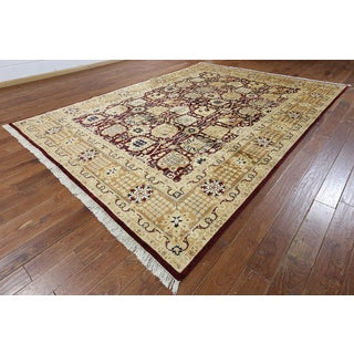 Hand-knotted Peshawar Burgundy and Beige Wool Rug (9' x 12'3)