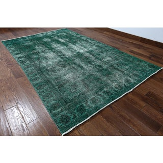 Hand-knotted Overdyed Green Wool Rug (5'10 x 9'7)
