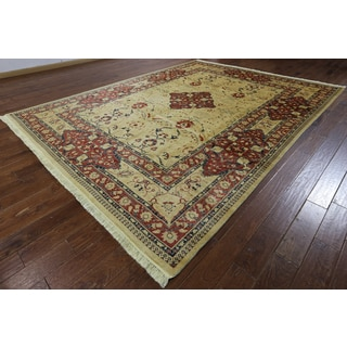 Hand-knotted Tabriz Ivory and Burgundy Wool Rug (9'1 x 11'10)