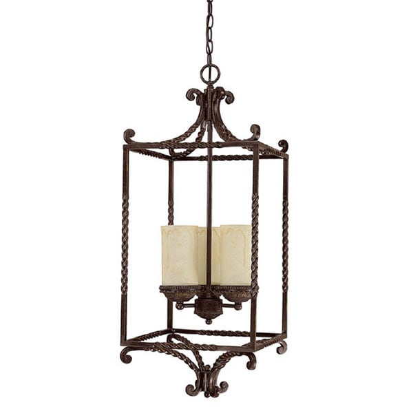 Capital Lighting Highlands Collection 3 Light Weather Brown Pendant
